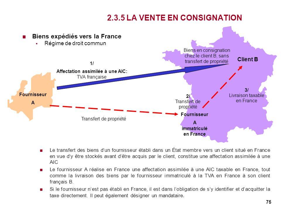 75 2.3.5 LA VENTE EN CONSIGNATION Biens expédiés vers la France Régime de droit commun Fournisseur A Client B 1/ Affectation assimilée à une AIC: TVA