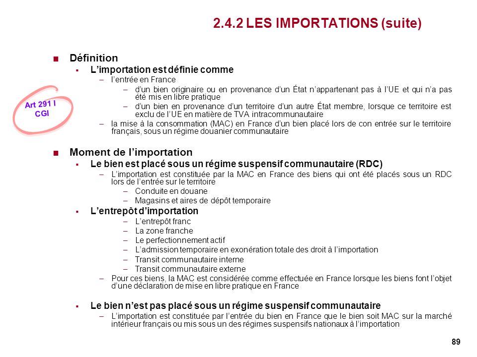 89 2.4.2 LES IMPORTATIONS (suite) Définition Limportation est définie comme –lentrée en France –dun bien originaire ou en provenance dun État napparte