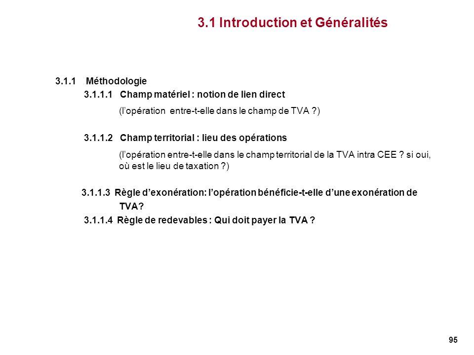 95 3.1 Introduction et Généralités 3.1.1 Méthodologie 3.1.1.1 Champ matériel : notion de lien direct (lopération entre-t-elle dans le champ de TVA ?)