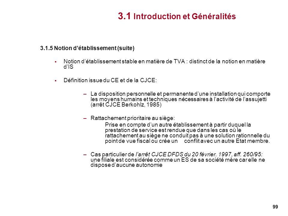 99 3.1.5 Notion détablissement (suite) Notion détablissement stable en matière de TVA : distinct de la notion en matière dIS Définition issue du CE et