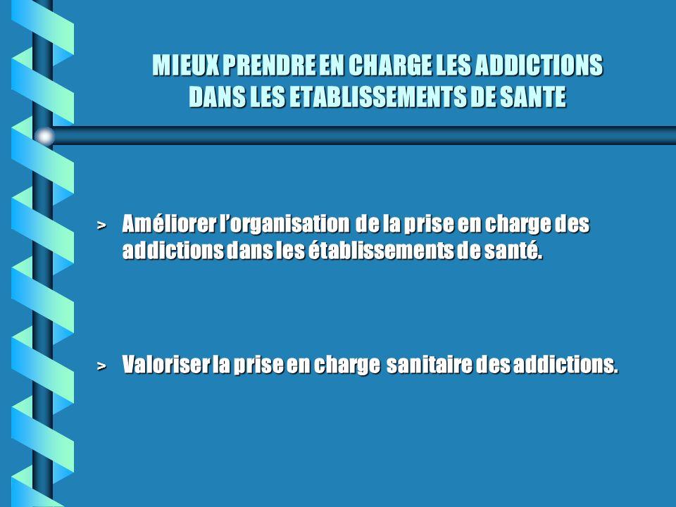 MIEUX PRENDRE EN CHARGE LES ADDICTIONS DANS LES ETABLISSEMENTS DE SANTE > Améliorer lorganisation de la prise en charge des addictions dans les établi