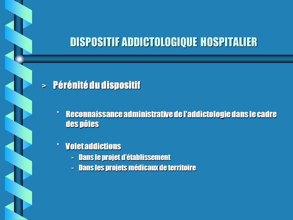 DISPOSITIF ADDICTOLOGIQUE HOSPITALIER > Pérénité du dispositif *Reconnaissance administrative de laddictologie dans le cadre des pôles *Volet addictio