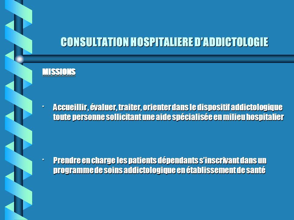CONSULTATION HOSPITALIERE DADDICTOLOGIE MISSIONS * Accueillir, évaluer, traiter, orienter dans le dispositif addictologique toute personne sollicitant
