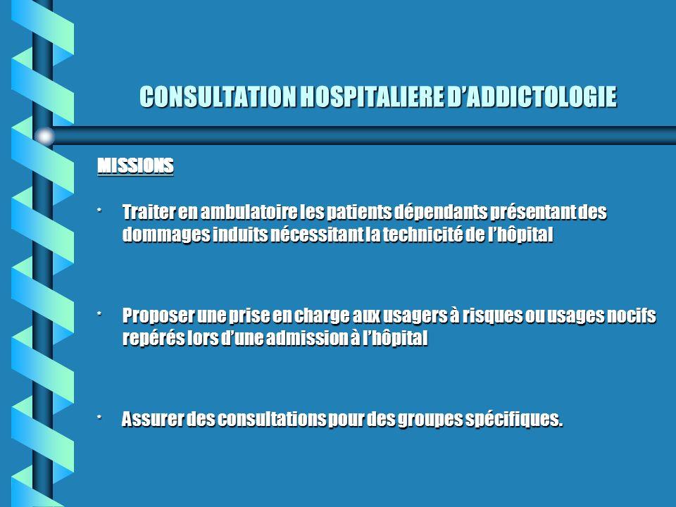CONSULTATION HOSPITALIERE DADDICTOLOGIE MISSIONS * Traiter en ambulatoire les patients dépendants présentant des dommages induits nécessitant la techn