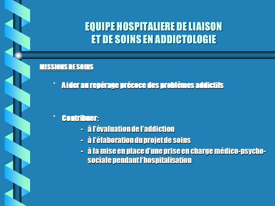 EQUIPE HOSPITALIERE DE LIAISON ET DE SOINS EN ADDICTOLOGIE MISSIONS DE SOINS *Aider au repérage précoce des problèmes addictifs *Contribuer : -à léval