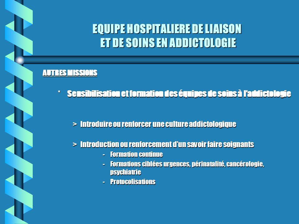 EQUIPE HOSPITALIERE DE LIAISON ET DE SOINS EN ADDICTOLOGIE AUTRES MISSIONS *Sensibilisation et formation des équipes de soins à laddictologie >Introdu