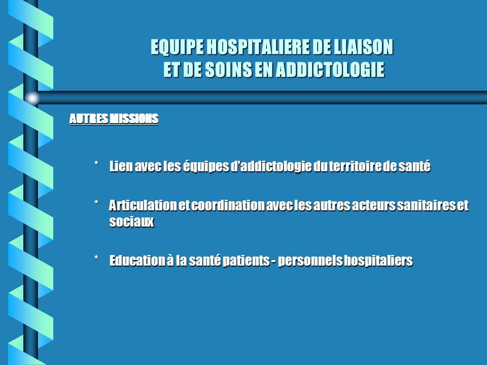 EQUIPE HOSPITALIERE DE LIAISON ET DE SOINS EN ADDICTOLOGIE AUTRES MISSIONS *Lien avec les équipes daddictologie du territoire de santé *Articulation e