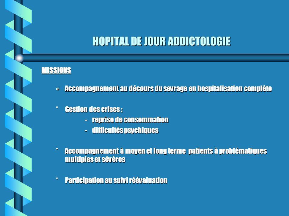 HOPITAL DE JOUR ADDICTOLOGIE MISSIONS Accompagnement au décours du sevrage en hospitalisation complète Accompagnement au décours du sevrage en hospita