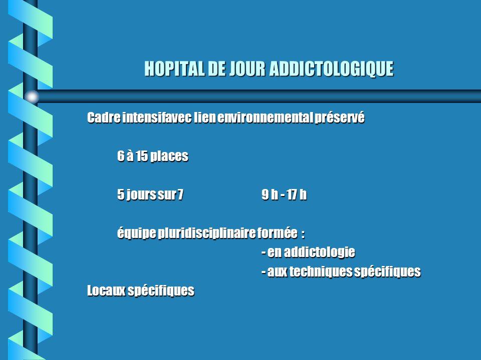 HOPITAL DE JOUR ADDICTOLOGIQUE Cadre intensifavec lien environnemental préservé 6 à 15 places 5 jours sur 79 h - 17 h équipe pluridisciplinaire formée