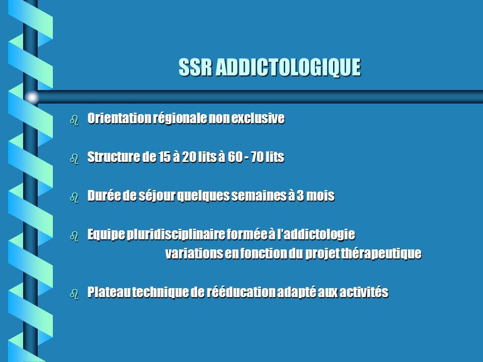 SSR ADDICTOLOGIQUE b Orientation régionale non exclusive b Structure de 15 à 20 lits à 60 - 70 lits b Durée de séjour quelques semaines à 3 mois b Equ