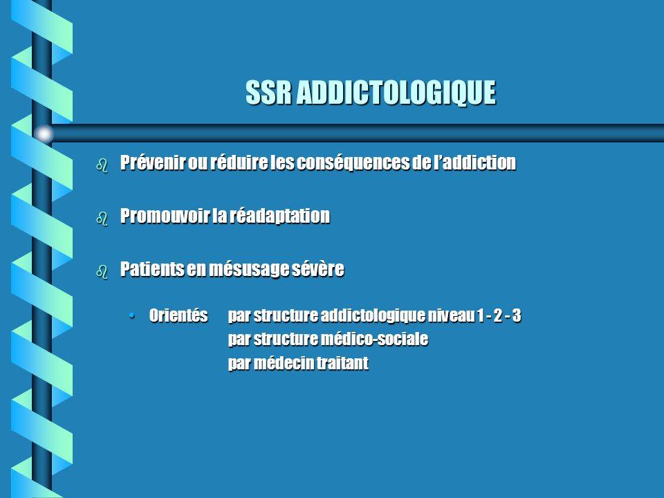 SSR ADDICTOLOGIQUE b Prévenir ou réduire les conséquences de laddiction b Promouvoir la réadaptation b Patients en mésusage sévère Orientéspar structu