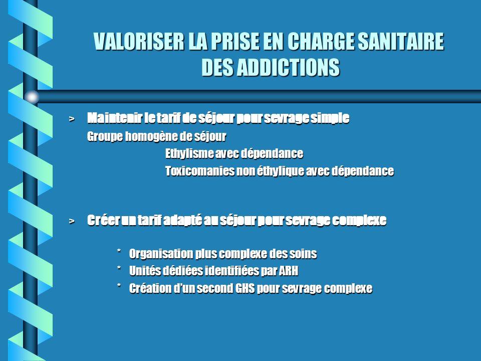 VALORISER LA PRISE EN CHARGE SANITAIRE DES ADDICTIONS > Maintenir le tarif de séjour pour sevrage simple Groupe homogène de séjour Ethylisme avec dépe
