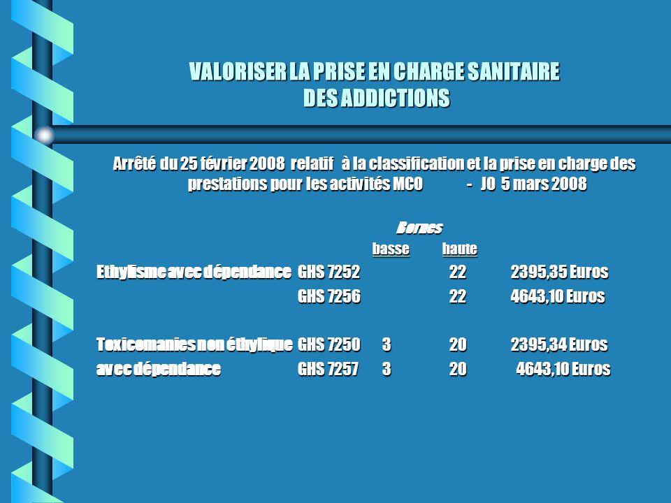 VALORISER LA PRISE EN CHARGE SANITAIRE DES ADDICTIONS Arrêté du 25 février 2008 relatif à la classification et la prise en charge des prestations pour