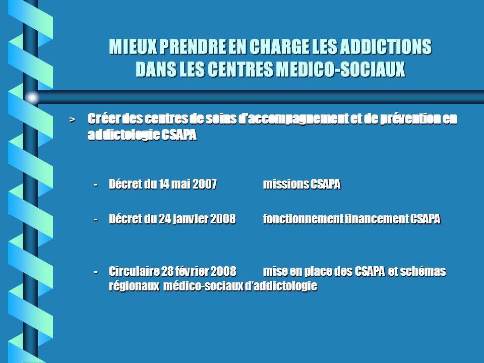 MIEUX PRENDRE EN CHARGE LES ADDICTIONS DANS LES CENTRES MEDICO-SOCIAUX > Créer des centres de soins daccompagnement et de prévention en addictologie C