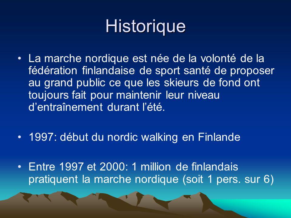 Historique La marche nordique est née de la volonté de la fédération finlandaise de sport santé de proposer au grand public ce que les skieurs de fond ont toujours fait pour maintenir leur niveau dentraînement durant lété.