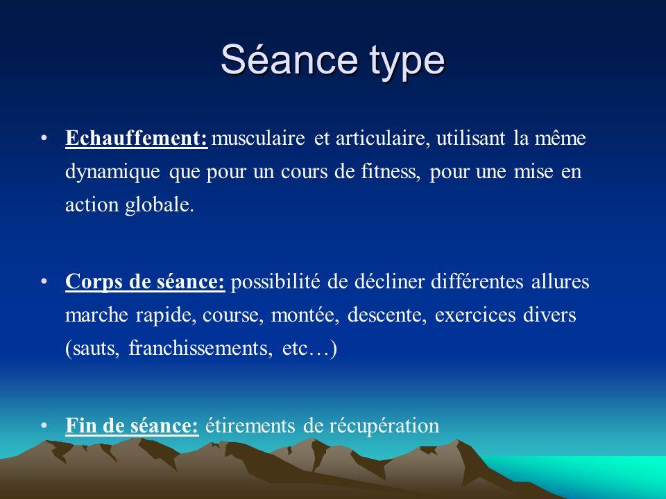 Séance type Echauffement: musculaire et articulaire, utilisant la même dynamique que pour un cours de fitness, pour une mise en action globale.
