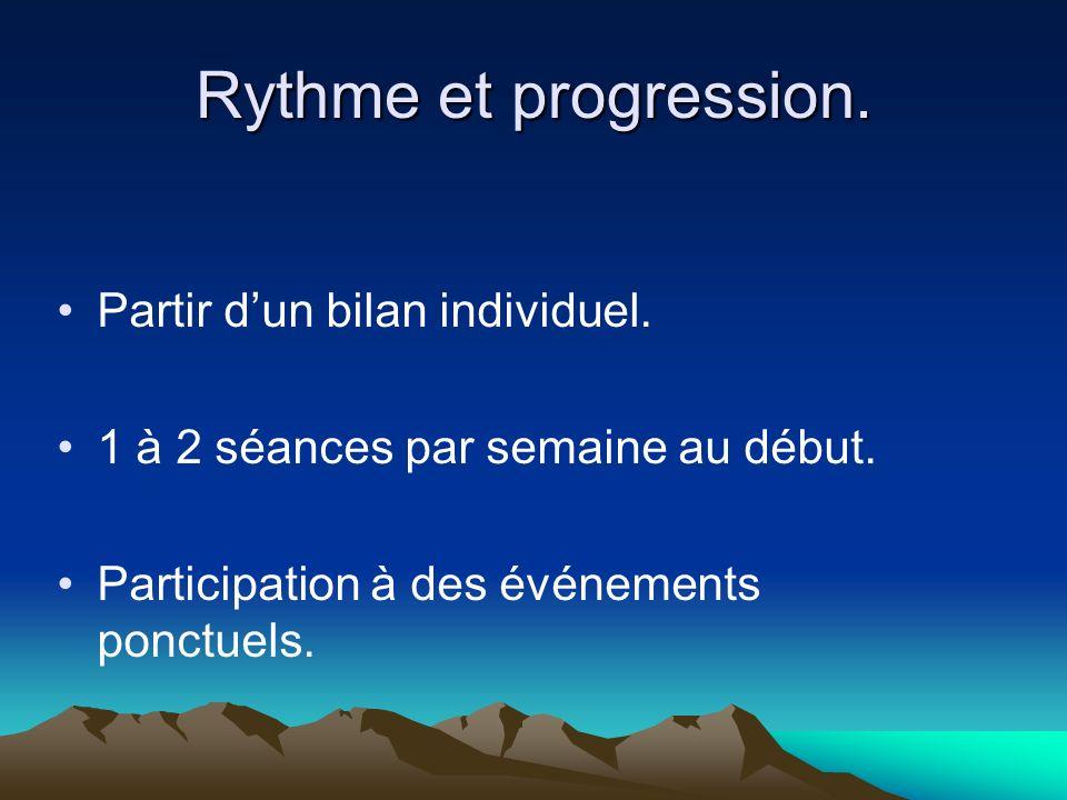 Rythme et progression. Partir dun bilan individuel. 1 à 2 séances par semaine au début. Participation à des événements ponctuels.