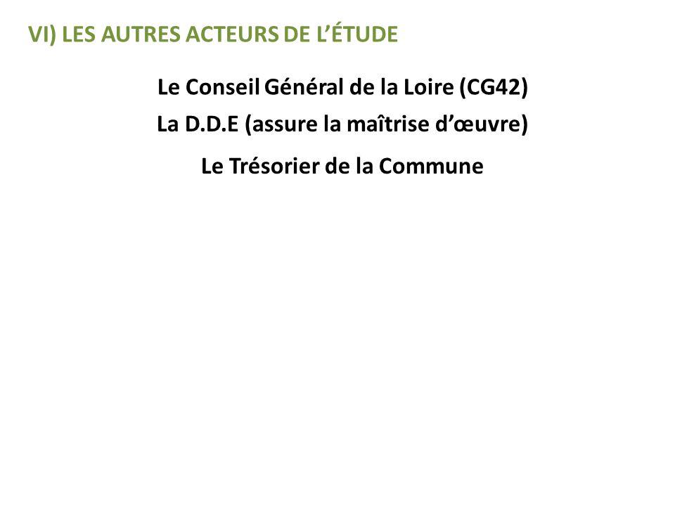 VI) LES AUTRES ACTEURS DE LÉTUDE Le Conseil Général de la Loire (CG42) La D.D.E (assure la maîtrise dœuvre) Le Trésorier de la Commune