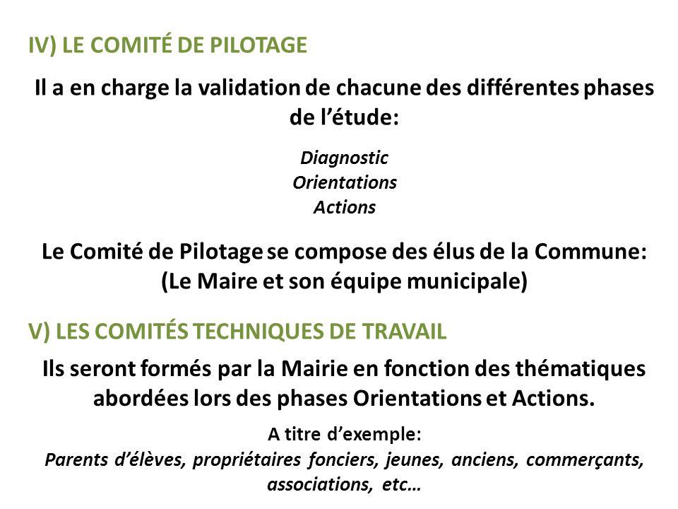 IV) LE COMITÉ DE PILOTAGE Il a en charge la validation de chacune des différentes phases de létude: Diagnostic Orientations Actions Le Comité de Pilot