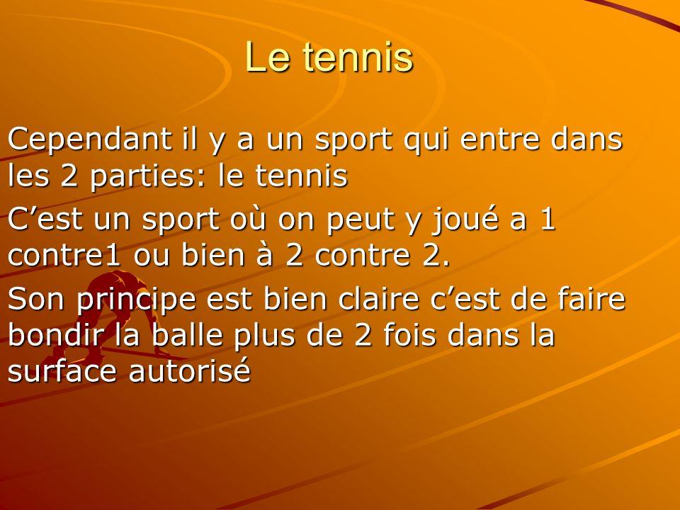Le tennis Cependant il y a un sport qui entre dans les 2 parties: le tennis Cest un sport où on peut y joué a 1 contre1 ou bien à 2 contre 2. Son prin