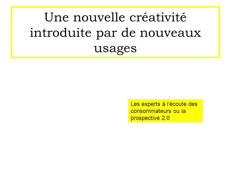 Une nouvelle créativité introduite par de nouveaux usages Les experts à lécoute des consommateurs ou la prospective 2.0