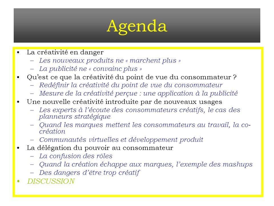 Agenda La créativité en danger – Les nouveaux produits ne « marchent plus » – La publicité ne « convainc plus » Quest ce que la créativité du point de