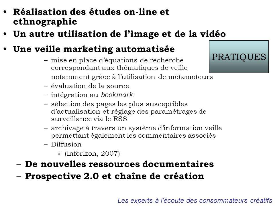 Réalisation des études on-line et ethnographie Un autre utilisation de limage et de la vidéo Une veille marketing automatisée –mise en place déquation
