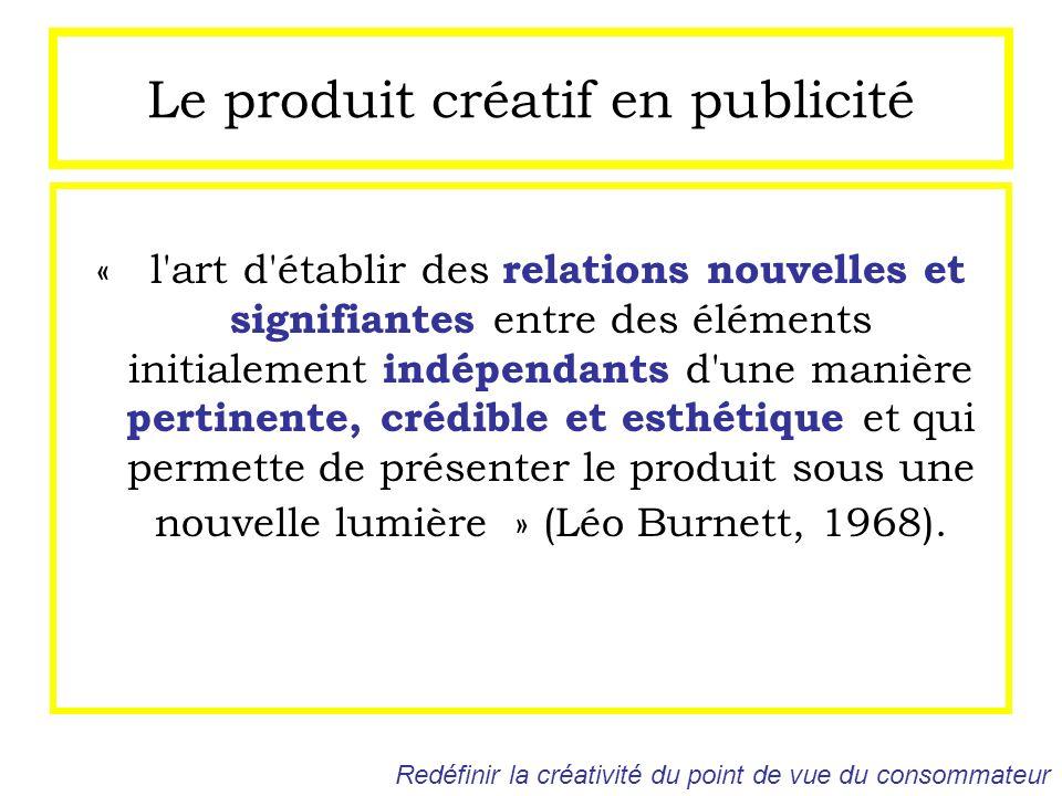 Le produit créatif en publicité « l'art d'établir des relations nouvelles et signifiantes entre des éléments initialement indépendants d'une manière p