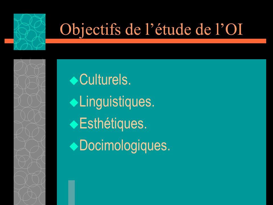 Objectifs de létude de lOI Culturels. Linguistiques. Esthétiques. Docimologiques.