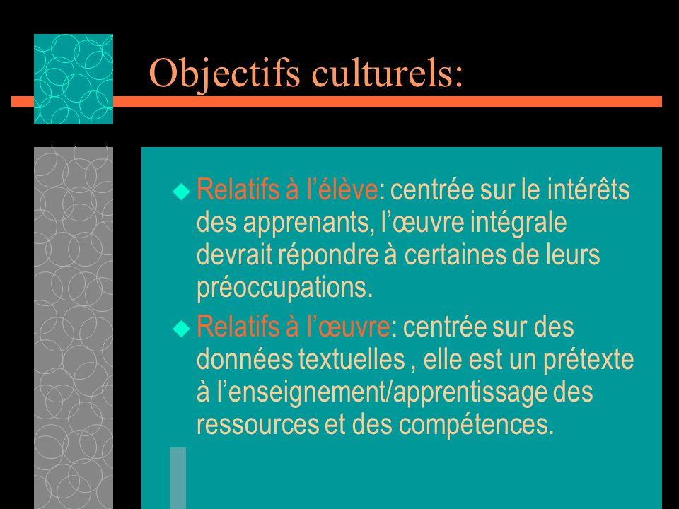 Objectifs culturels: Relatifs à lélève: centrée sur le intérêts des apprenants, lœuvre intégrale devrait répondre à certaines de leurs préoccupations.