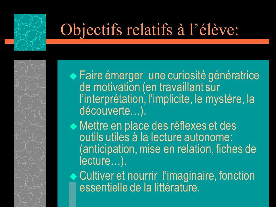 Objectifs relatifs à lélève: Faire émerger une curiosité génératrice de motivation (en travaillant sur linterprétation, limplicite, le mystère, la déc