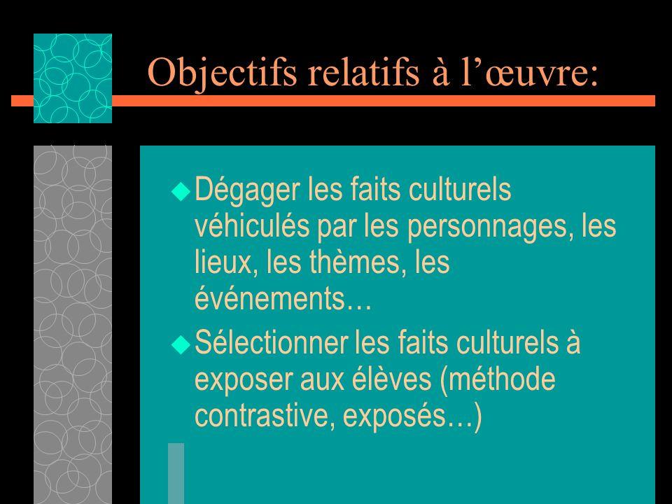 Objectifs relatifs à lœuvre: Dégager les faits culturels véhiculés par les personnages, les lieux, les thèmes, les événements… Sélectionner les faits