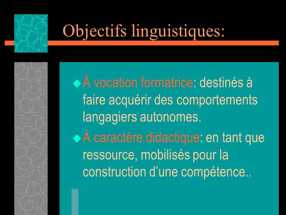 Objectifs linguistiques: À vocation formatrice: destinés à faire acquérir des comportements langagiers autonomes. À caractère didactique: en tant que