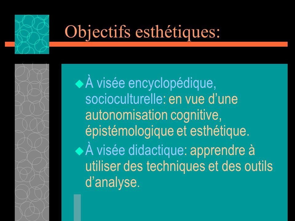 Objectifs esthétiques: À visée encyclopédique, socioculturelle: en vue dune autonomisation cognitive, épistémologique et esthétique. À visée didactiqu