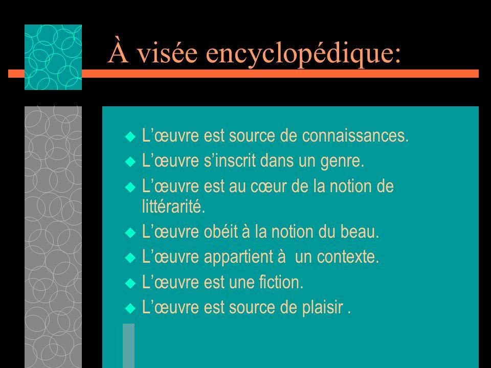 À visée encyclopédique: Lœuvre est source de connaissances. Lœuvre sinscrit dans un genre. Lœuvre est au cœur de la notion de littérarité. Lœuvre obéi