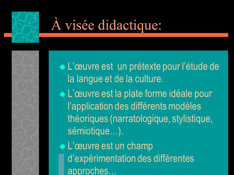 À visée didactique: Lœuvre est un prétexte pour létude de la langue et de la culture. Lœuvre est la plate forme idéale pour lapplication des différent