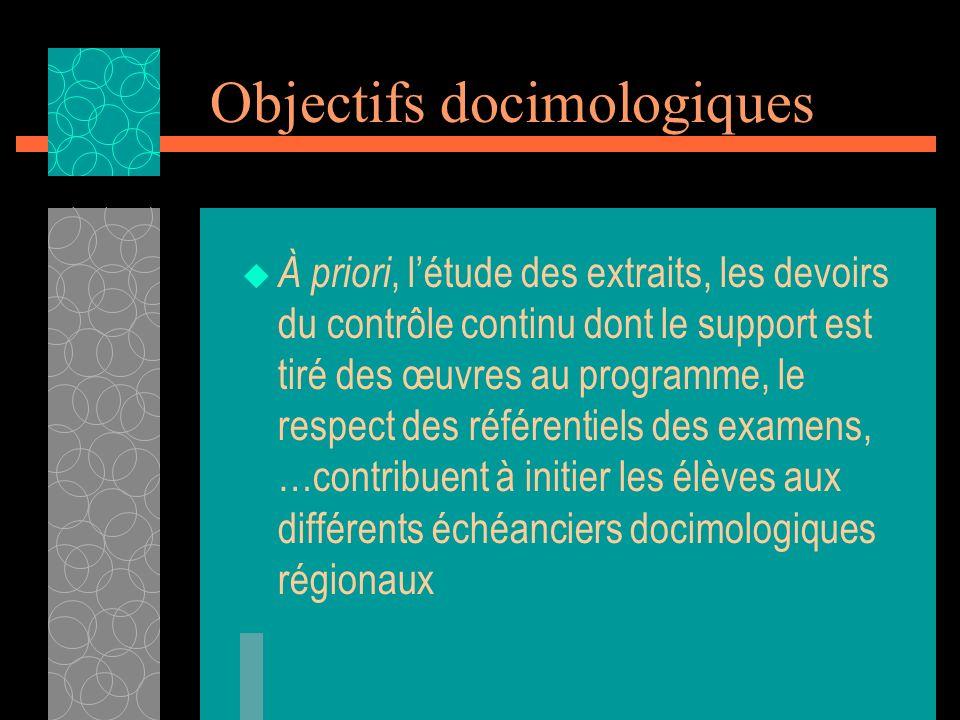 Objectifs docimologiques À priori, létude des extraits, les devoirs du contrôle continu dont le support est tiré des œuvres au programme, le respect d