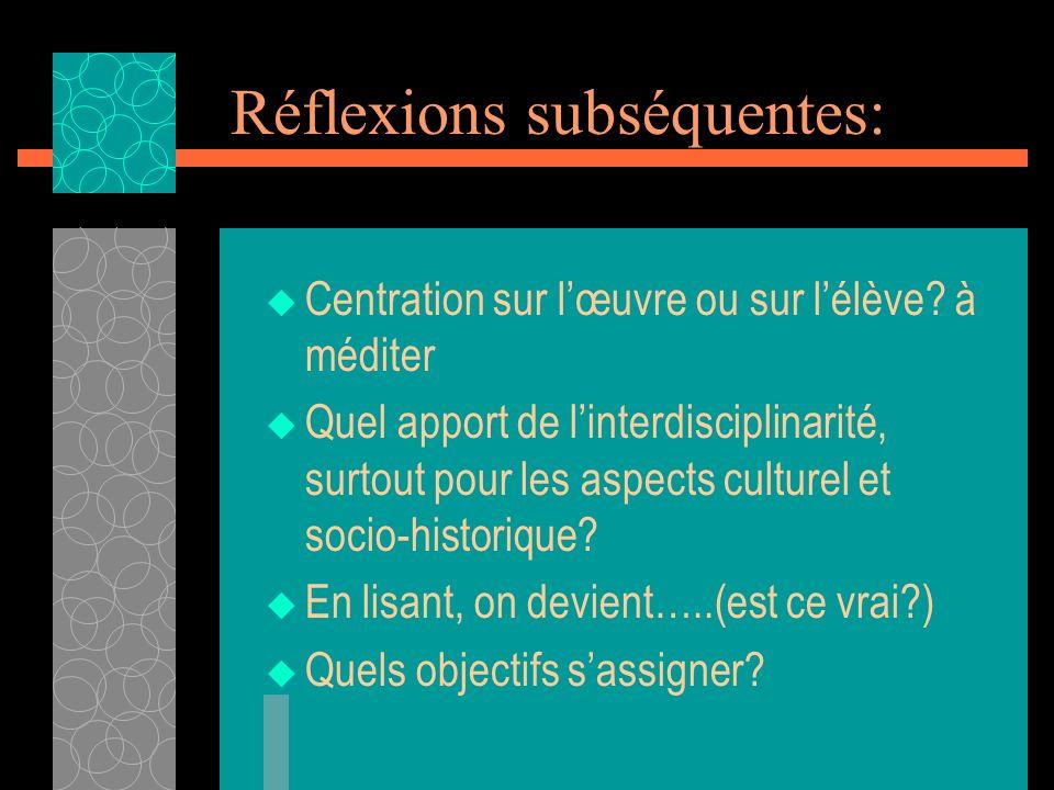 Réflexions subséquentes: Centration sur lœuvre ou sur lélève? à méditer Quel apport de linterdisciplinarité, surtout pour les aspects culturel et soci