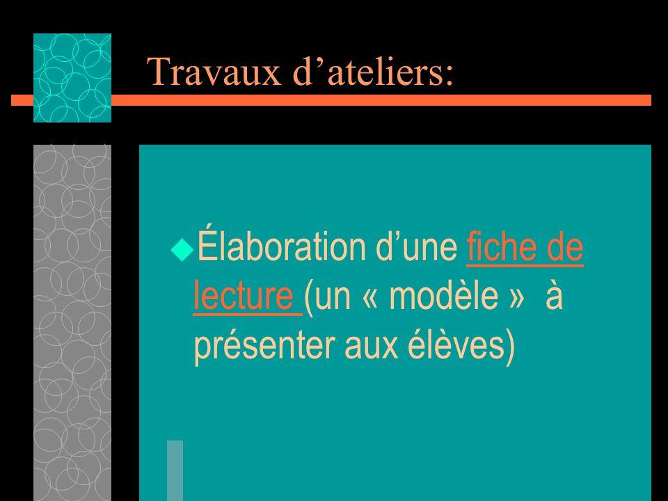 Travaux dateliers: Élaboration dune fiche de lecture (un « modèle » à présenter aux élèves)fiche de lecture