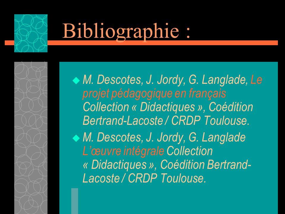 Bibliographie : M. Descotes, J. Jordy, G. Langlade, Le projet pédagogique en français Collection « Didactiques », Coédition Bertrand-Lacoste / CRDP To