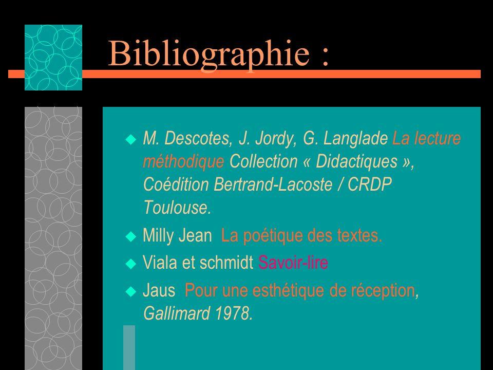 Bibliographie : M. Descotes, J. Jordy, G. Langlade La lecture méthodique Collection « Didactiques », Coédition Bertrand-Lacoste / CRDP Toulouse. Milly