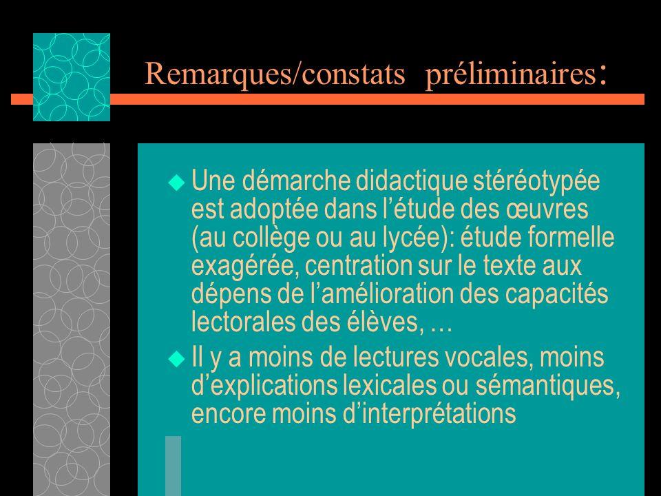 Remarques/constats préliminaires : Une démarche didactique stéréotypée est adoptée dans létude des œuvres (au collège ou au lycée): étude formelle exa