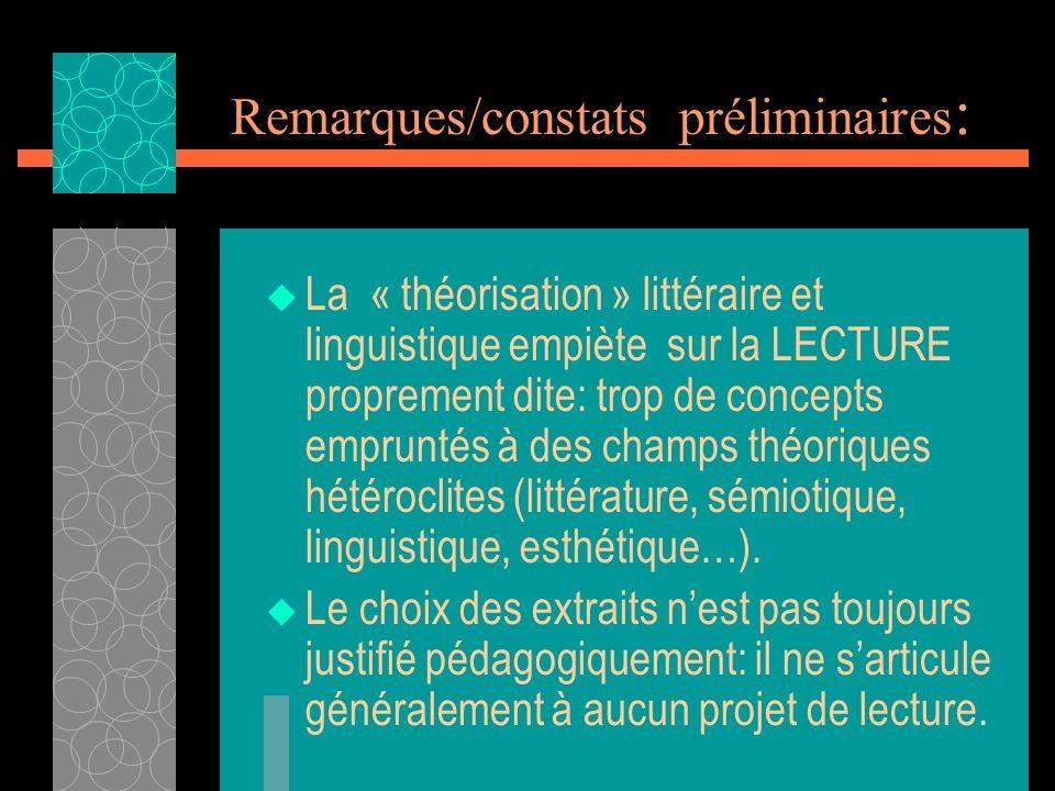 Remarques/constats préliminaires : La « théorisation » littéraire et linguistique empiète sur la LECTURE proprement dite: trop de concepts empruntés à