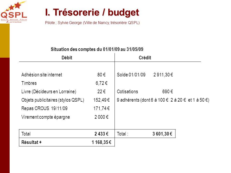 Situation des comptes du 01/01/09 au 31/05/09 DébitCrédit Adhésion site internet80 Solde 01/01/092 911,30 Timbres6,72 Livre (Décideurs en Lorraine)22