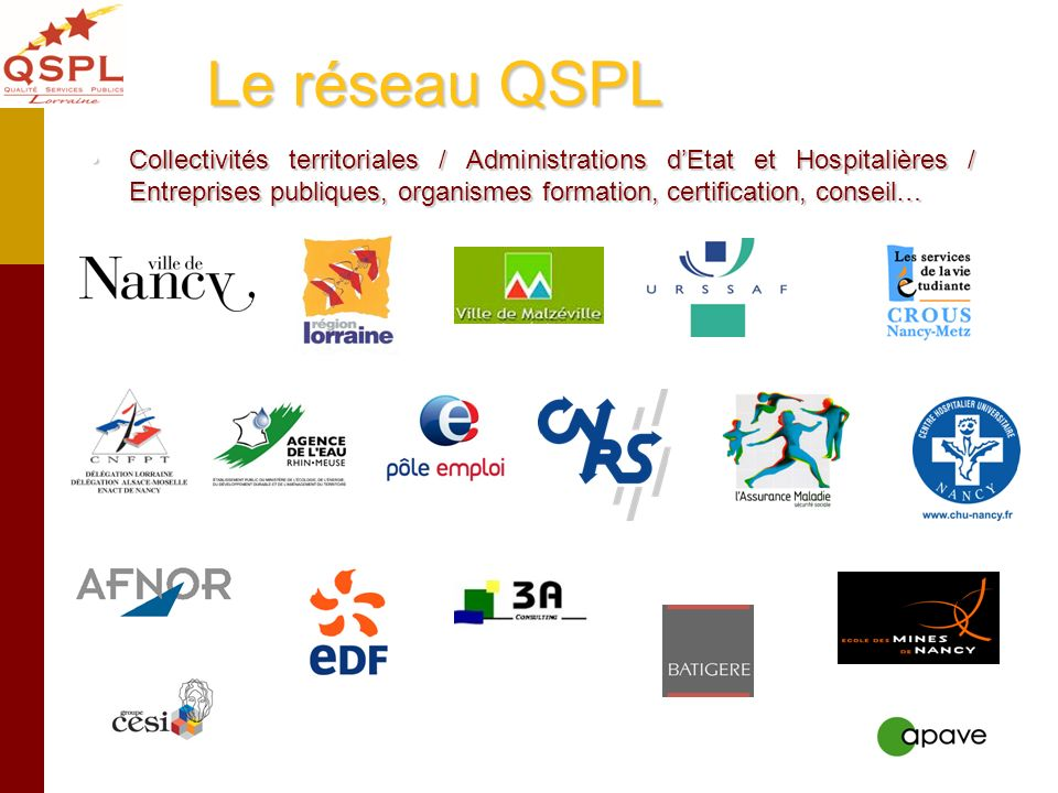 Le réseau QSPL Collectivités territoriales / Administrations dEtat et Hospitalières / Entreprises publiques, organismes formation, certification, cons