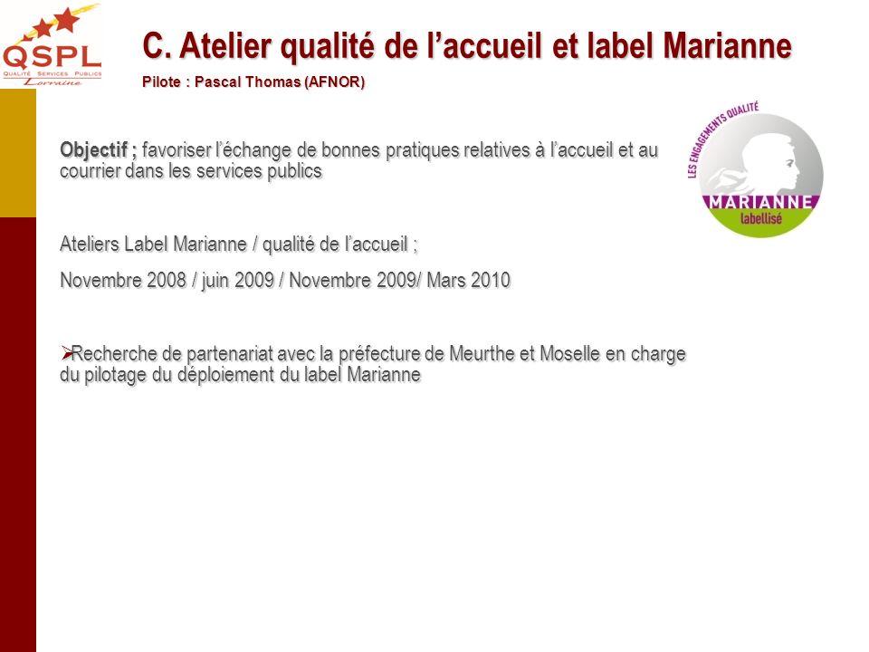 Objectif ; favoriser léchange de bonnes pratiques relatives à laccueil et au courrier dans les services publics Ateliers Label Marianne / qualité de l