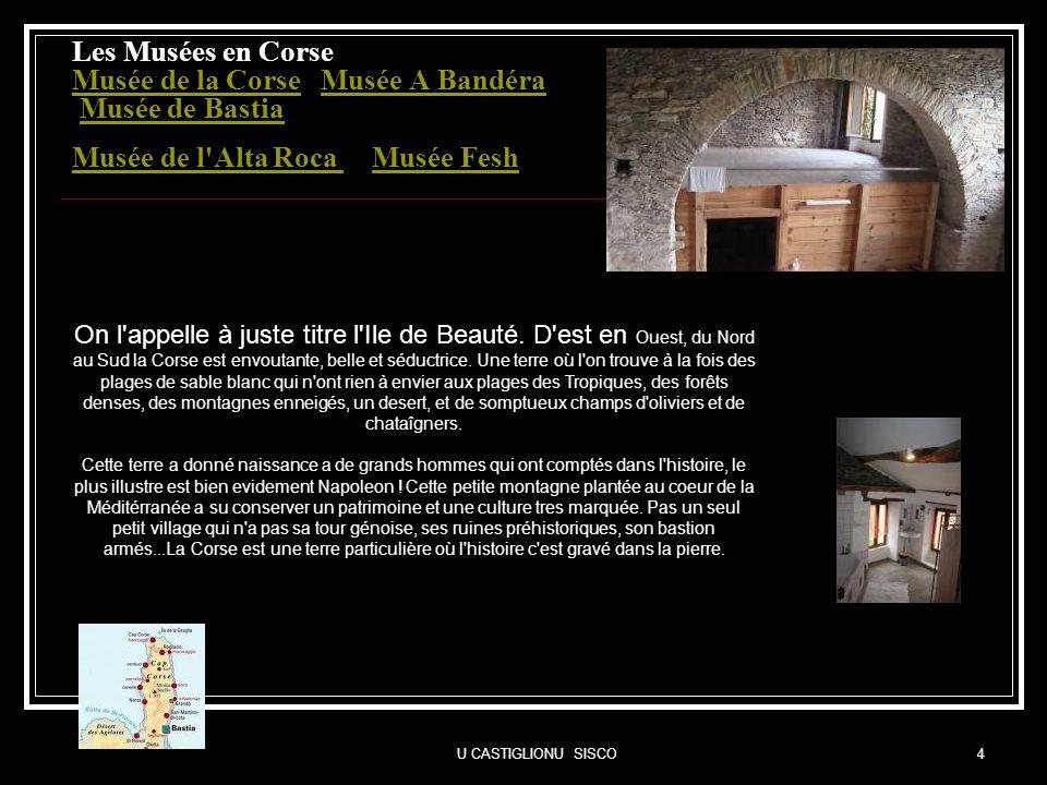 U CASTIGLIONU SISCO4 Les Musées en Corse Musée de la Corse Musée A Bandéra Musée de Bastia Musée de l'Alta Roca Musée Fesh Musée de la CorseMusée A Ba