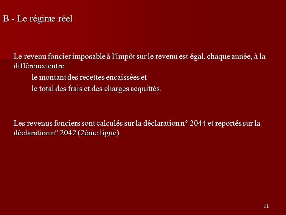 11 B - Le régime réel Le revenu foncier imposable à l'impôt sur le revenu est égal, chaque année, à la différence entre : le montant des recettes enca
