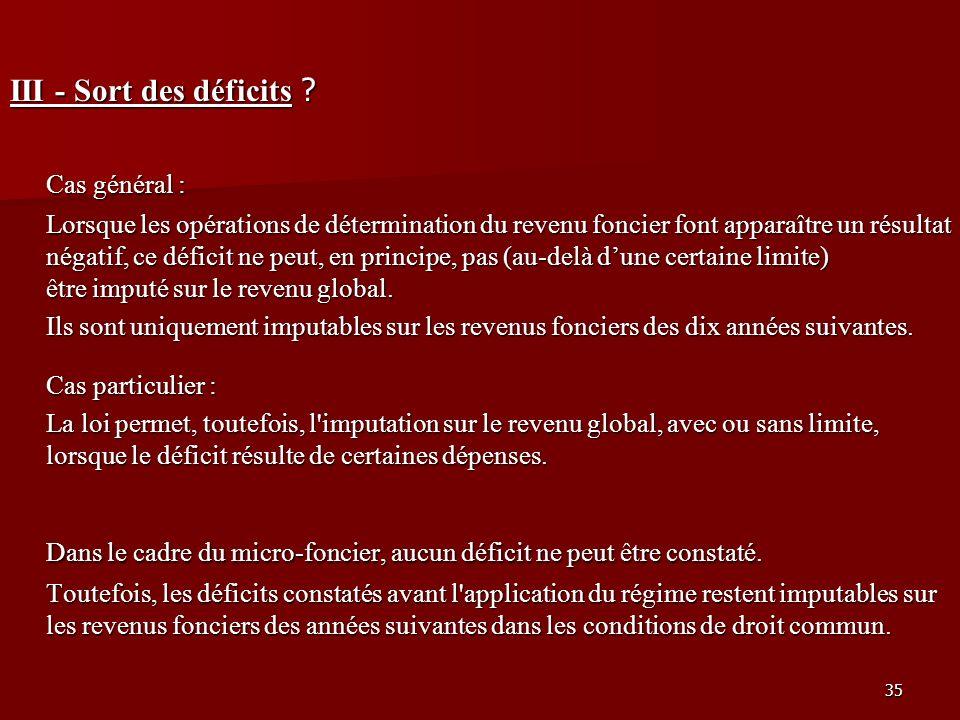 35 III - Sort des déficits ? Cas général : Lorsque les opérations de détermination du revenu foncier font apparaître un résultat négatif, ce déficit n