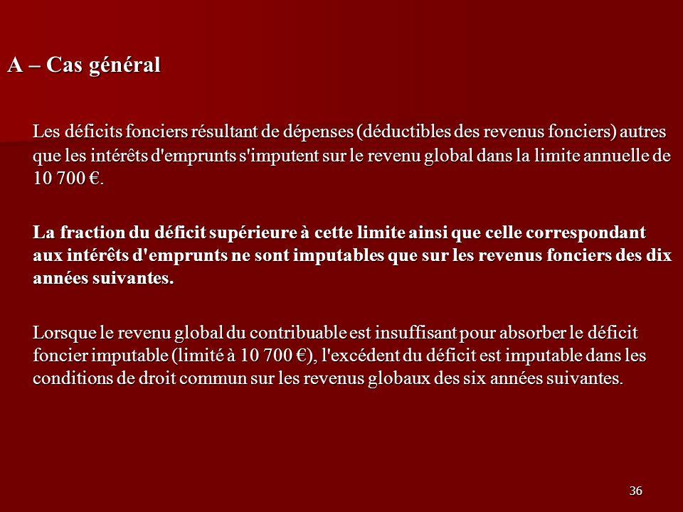 36 A – Cas général Les déficits fonciers résultant de dépenses (déductibles des revenus fonciers) autres que les intérêts d'emprunts s'imputent sur le